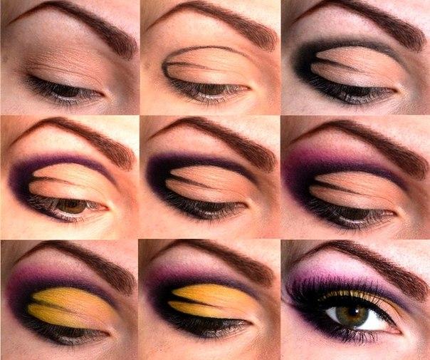 макияж глаз в сиреневых тонах, пошаговые фото