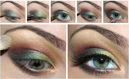 макияж глаз зелеными тенями