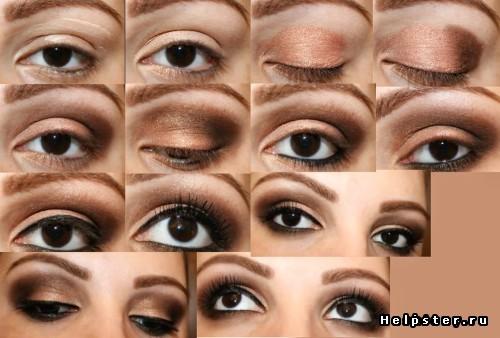 макияж для глаз пошагово в бежевых тонах