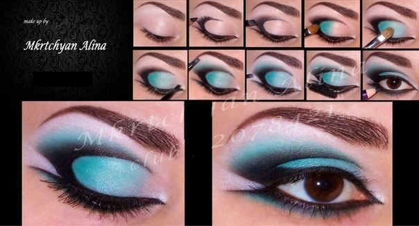 макияж голубыми тенями для карих глаз