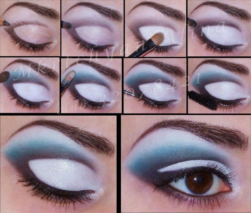 пошаговый макияж глаз голубыми тенями