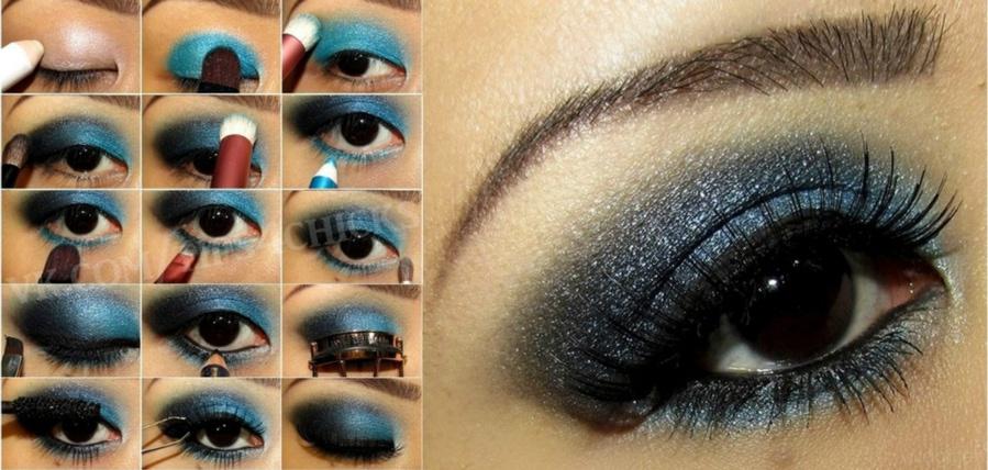 макияж глаз синими тенями