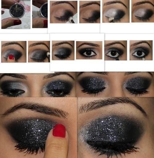 вечерний макияж глаз черными тенями