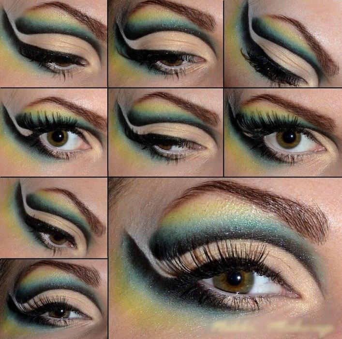 макияж в желто зеленых тонах