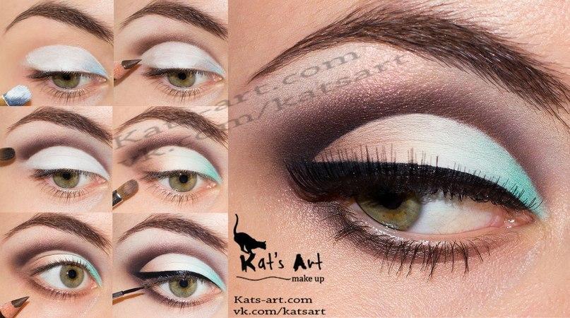 легкий макияж глаз с голубыми уголком