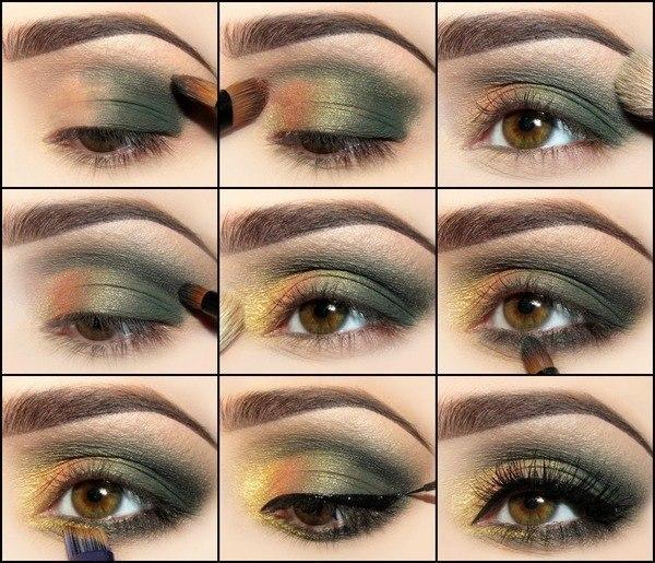 вечерний макияж зелеными тенями
