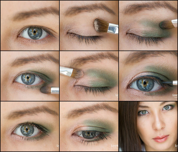 легкий макияж зелеными тенями